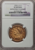 Liberty Eagles, 1858-S $10 -- Improperly Cleaned -- NGC Details. XF....