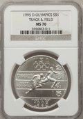 Modern Issues: , 1995-D $1 Olympic/Track & Field Silver Dollar MS70 NGC. NGCCensus: (226). PCGS Population (154). Numismedia Wsl. Price fo...