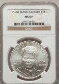 Modern Issues: , 1998-S $1 Robert F. Kennedy Silver Dollar MS69 NGC. NGC Census:(2009/716). PCGS Population (2402/233). Numismedia Wsl. Pr...
