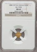 California Fractional Gold, 1880 25C Indian Octagonal 25 Cents, BG-799X, R.3, MS63 NGC....