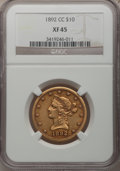 Liberty Eagles, 1892-CC $10 XF45 NGC. Variety 1-A....