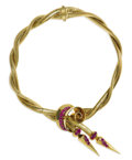 Estate Jewelry:Necklaces, Retro Ruby, Gold Necklace. The braided 14k yellow gold snake chain necklace features a swirl form and finials enhanced by ...