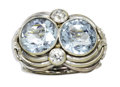 Estate Jewelry:Rings, Retro Aquamarine, Diamond, White Gold Ring. The ring features two round-shaped aquamarine, one measuring 9.90 x 9.60 x 7.0...