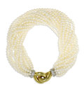 Estate Jewelry:Bracelets, Cultured Pearl, Diamond, Gold Bracelet, Cartier. The torsadebracelet is composed of cultured pearls measuring 2.50 - 3.00...