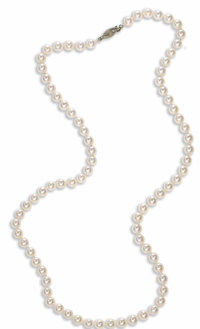 Cultured Pearl, White Gold Necklace  Composed of cultured pearls measuring approximately 7.50 - 8.00 mm, forming a singl...