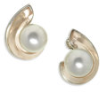 Estate Jewelry:Earrings, South Sea Cultured Pearl, Rose Quartz, White Gold Earrings, Utopia.Each earring features a white South Sea cultured pearl...