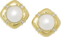 Estate Jewelry:Earrings, Mabe Pearl, Diamond, Gold Earrings. Each earring centers one mabepearl measuring approximately 16.00 - 16.50 mm, accented...