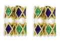 Estate Jewelry:Earrings, Cultured Pearl, Enamel, Gold EarringsEach earring features culturedpearls measuring approximately 6.00 - 6.50 mm, enhanced...