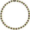 Estate Jewelry:Necklaces, Cultured Pearl, Enamel, Gold Necklace. The necklace featurescultured pearls measuring approximately 6.50 - 7.00 mm, alter...