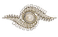 Estate Jewelry:Brooches - Pins, Cultured Pearl, Diamond, Platinum Brooch. The brooch centers one cultured pearl measuring 10.00-10.50 mm, enhanced by bagu...
