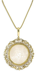 Estate Jewelry:Pendants and Lockets, Mother-Of-Pearl, Diamond, Gold Pendant-Enhancer-Necklace. Thependant-enhancer centers a Chinese gambling chip made of car...