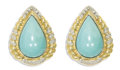 Estate Jewelry:Earrings, Turquoise, Diamond, Gold Earrings. Each teardrop earring centersone pear-shaped turquoise cabochon measuring 22.00 x 15.0...