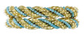 Estate Jewelry:Bracelets, Turquoise, Gold Bracelets. The pair of bracelets are fashioned witha rope motif featuring turquoise beads measuring 3.00 ...