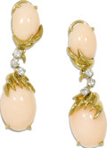 Estate Jewelry:Earrings, Coral, Diamond, Gold Earrings. Each dangle style earring featuresone oval-shaped coral cabochon measuring 15.00 x 10.00 m...