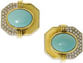 Estate Jewelry:Earrings, Diamond, Turquoise, Gold Earrings. Each octagon-shaped earringcenters one oval-shaped turquoise cabochon measuring 15.00 ...(Total: 2 Items)