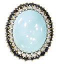 Estate Jewelry:Rings, Turquoise, Diamond, Sapphire Ring. The ring centers an oval-shaped turquoise cabochon measuring approximately 23.00 x 18.5...