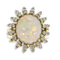 Estate Jewelry:Rings, Opal, Diamond, Gold Ring. The ring centers one oval-shaped opalcabochon measuring 13.50 x 11.50 x 5.25 mm and weighing ap...