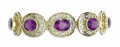 Estate Jewelry:Bracelets, Amethyst, Gold Bracelet. The bracelet features oval-shaped amethystranging in size from 10.80 x 8.50 x 6.80 mm to 9.35 x ...