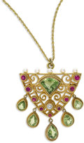 Estate Jewelry:Necklaces, Peridot, Diamond, Ruby, Gold Pendant-Brooch-Necklace. Theshield-shaped pendant is highlighted by a fan-shaped peridot mea...