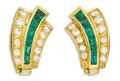 Estate Jewelry:Earrings, Emerald, Diamond, Gold Earrings. Each fan-shaped earring features baguette-cut emeralds, framed by full-cut diamonds, set ...