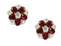 Estate Jewelry:Earrings, Ruby, Diamond, Gold Earrings. Each features oval-shaped rubiesmeasuring approximately 4.00 x 3.00 mm, enhanced by Europea...(Total: 2 Pieces)