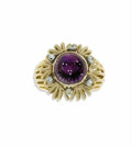 Estate Jewelry:Rings, Amethyst, Diamond, Gold Ring. The ring is highlighted by anamethyst cabochon measuring approximately 10.00 x 9.80 x 8.00...
