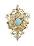Estate Jewelry:Brooches - Pins, Opal, Diamond, Gold Pendant-Brooch. The pendant-brooch features oneoval-shaped opal cabochon measuring 9.40 x 7.30 mm, fr...