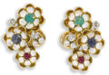 Estate Jewelry:Earrings, Diamond, Multi-Stone, Enamel, Gold Earrings. Each 18k yellow goldearring features an emerald, ruby and sapphire cabochon ...