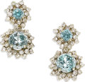 Estate Jewelry:Earrings, Blue Zircon, Diamond, White Gold Earrings. Each drop earringfeatures round-cut blue zircon, one measuring 5.30 mm and ano...
