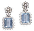 Estate Jewelry:Earrings, Aquamarine, Diamond, White Gold Earrings, H. Stern. Each earringfeatures one emerald-cut aquamarine measuring approximate...