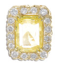Estate Jewelry:Rings, Yellow Sapphire, Diamond, Gold Ring. The ring centers one cushion-shaped yellow sapphire measuring 15.25 x 11.73 x 7.32 mm...