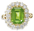 Estate Jewelry:Rings, Peridot, Diamond, Gold Ring. The ring centers an emerald-shapedperidot measuring 11.00 x 8.00 x 5.85 mm and weighing appr...