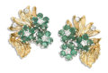 Estate Jewelry:Earrings, Emerald, Diamond, Gold Earrings. Each floral motif earring featuresround emeralds measuring 2.50 mm, enhanced by full-cut...