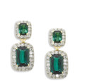 Estate Jewelry:Earrings, Tourmaline, Diamond, Platinum, Gold Earrings. Each drop earringfeatures two cushion-shaped green tourmaline, one measurin...(Total: 2 Items)