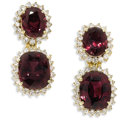 Estate Jewelry:Earrings, Garnet, Diamond, Gold Earrings. Each earring features oneoval-shaped rhodolite garnet measuring 10.00 x 8.00 x 5.50 mm, ...(Total: 2 Pieces)