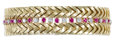 Estate Jewelry:Bracelets, Ruby, Diamond, Gold Bracelet. The bracelet features full-cut diamonds weighing a total of approximately 1.75 carats, alter...