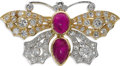 Estate Jewelry:Brooches - Pins, Ruby, Diamond, Gold Brooch. The brooch, designed as a butterfly, features oval-shaped ruby cabochons measuring 6.80 x 5.00...