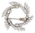 Estate Jewelry:Brooches - Pins, A 14K White Gold and Multi-Diamond Brooch. The brooch weighing 10.8 gms mounted with 42 round full cut diamonds 0.04 - 0.0...