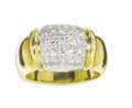 Estate Jewelry:Rings, Diamond, Gold Rng. The ring of bombe form, features full-cutdiamonds weighing a total of approximately 0.50 carat, pave s...