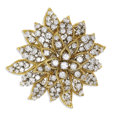 Estate Jewelry:Brooches - Pins, Diamond, Gold Clip-Brooch. The brooch, designed as a flower, features full-cut diamonds weighing a total of approximately ...