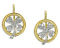 Estate Jewelry:Earrings, Diamond, Platinum, Gold Earrings, Cathy Waterman. Each earringfeatures full-cut diamonds, set in a platinum four leaf clo...(Total: 2 Pieces)