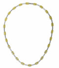 Estate Jewelry:Necklaces, Diamond, Gold Necklace. The necklace features alternating 18k white gold bar links and 18k yellow gold barrel-shaped links...