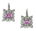 Estate Jewelry:Earrings, Pink Sapphire, Diamond, Platinum Earrings, Cathy Waterman. Eachearring is highlighted by a round-cut pink sapphire measur...