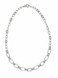 Estate Jewelry:Necklaces, Diamond, White Gold Necklace. The chain link necklace is accentedby full-cut diamonds weighing a total of approximately 0...