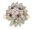 Estate Jewelry:Rings, Diamond, Ruby, Platinum, Gold Ring. The floral design ring is highlighted by one European-cut diamond 6.10 x 6.00 x 3.30 m...
