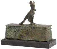 Egyptian Falcon (Hours) Sarcophagus  Egyptian Circa 664-525 BC Bronze 6.5 inches high x 6.5 inches wid