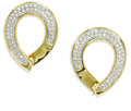 Estate Jewelry:Earrings, Diamond, Gold Earrings. Each earring features full-cut diamonds,pave set in 18k white gold within 18k yellow gold frames....(Total: 2 Pieces)