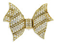 Estate Jewelry:Brooches - Pins, Diamond, Gold Clip-Brooch, Chaumet. The brooch, designed as a bow,features pave set full-cut diamonds weighing a total of...