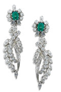 Estate Jewelry:Earrings, Emerald, Diamond, Platinum Earrings. Each earring features oneoval-shaped emerald cabochon measuring 5.50 x 4.50 mm, enha...