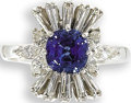 Estate Jewelry:Rings, Sapphire, Diamond, White Gold Cocktail Ring. The ring centers onecushion-cut sapphire measuring 6.00 x 5.85 x 4.35 mm and...